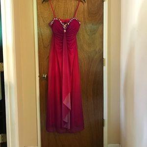 Beautiful Long dress with jeweled neckline.